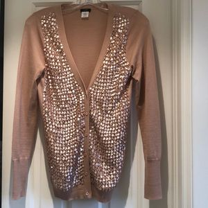 JCrew sequin front pink cardigan Small